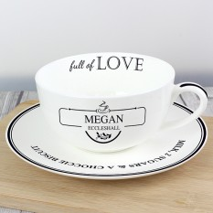 Hampers and Gifts to the UK - Send the Full of Love Teacup & Saucer ANY NAME