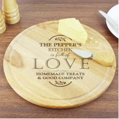 Hampers and Gifts to the UK - Send the Personalised Full of Love Large Round Chopping Board