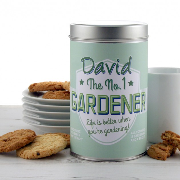 Hampers and Gifts to the UK - Send the No.1 Gardener Cookie Tin Personalised