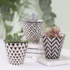 Hampers and Gifts to the UK - Send the Black Geo Planters - Set of 3