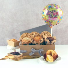 Hampers and Gifts to the UK - Send the Get Well Cookies, Muffins and Balloon Gift