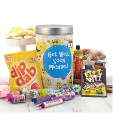 Hampers and Gifts to the UK - Send the Retro Sweets - Smiley Get Well Tin