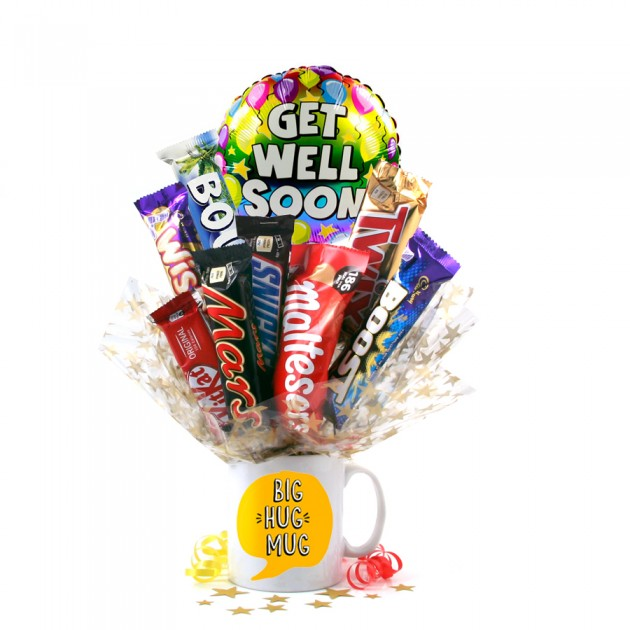 Hampers and Gifts to the UK - Send the Big Hug Chocolate Medley Bouquet In a Mug