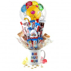 Hampers and Gifts to the UK - Send the Get Well Soon Kinder Egg Surprise Bouquet In a Mug