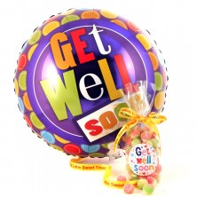 Sweets and Helium Balloon Get Well Soon