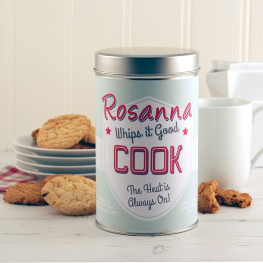 Hampers and Gifts to the UK - Send the Personalised Biscuit Tin for a Cook