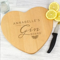 Hampers and Gifts to the UK - Send the Personalised Gin Heart Chopping Board