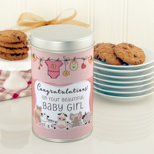 Hampers and Gifts to the UK - Send the Beautiful New Baby Girl Cookie Tin