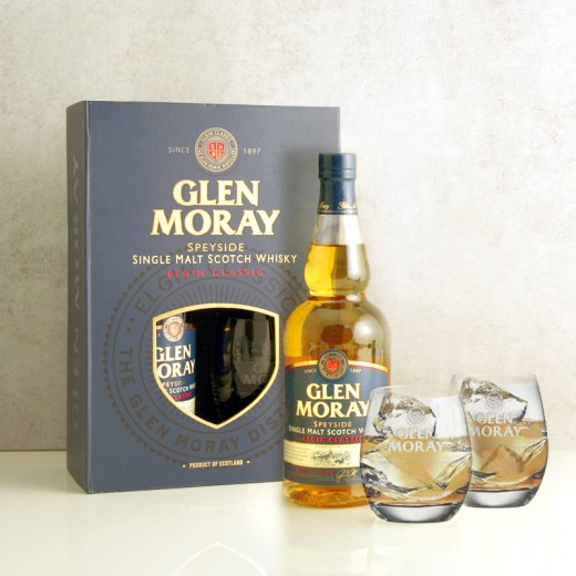 Hampers and Gifts to the UK - Send the Glen Moray Classic Gift Pack with Glasses