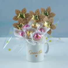 Hampers and Gifts to the UK - Send the Personalised Lindor Pink & Gold Mug Bouquet