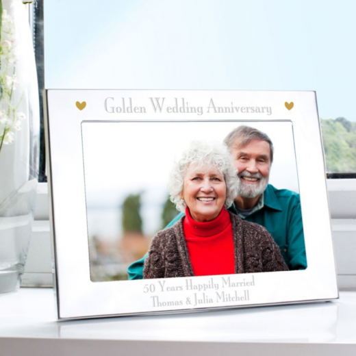 Hampers and Gifts to the UK - Send the Golden Anniversary Personalised Photo Frame
