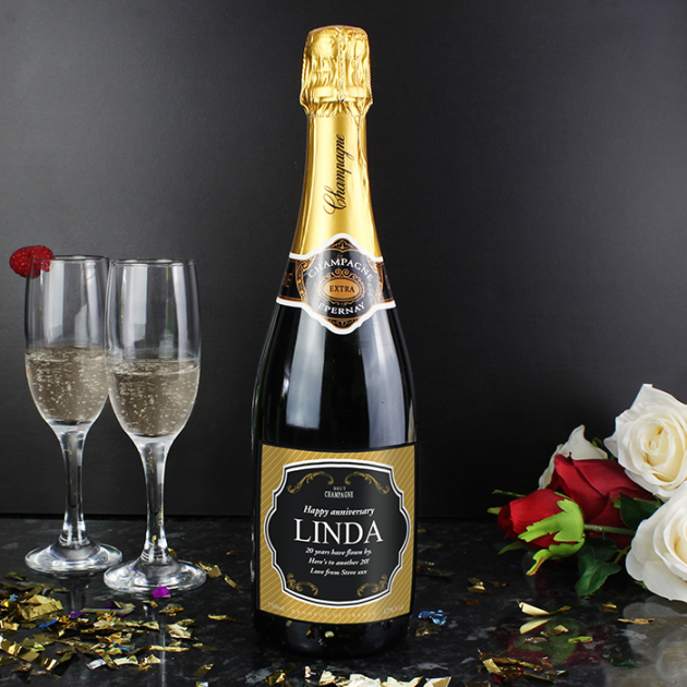 Hampers and Gifts to the UK - Send the Personalised Label Champagne Gift