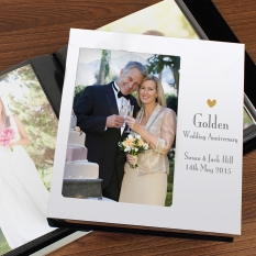 Hampers and Gifts to the UK - Send the Personalised Golden Anniversary Photo Frame Album