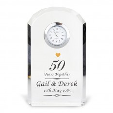 Hampers and Gifts to the UK - Send the Personalised Golden Anniversary Crystal Clock