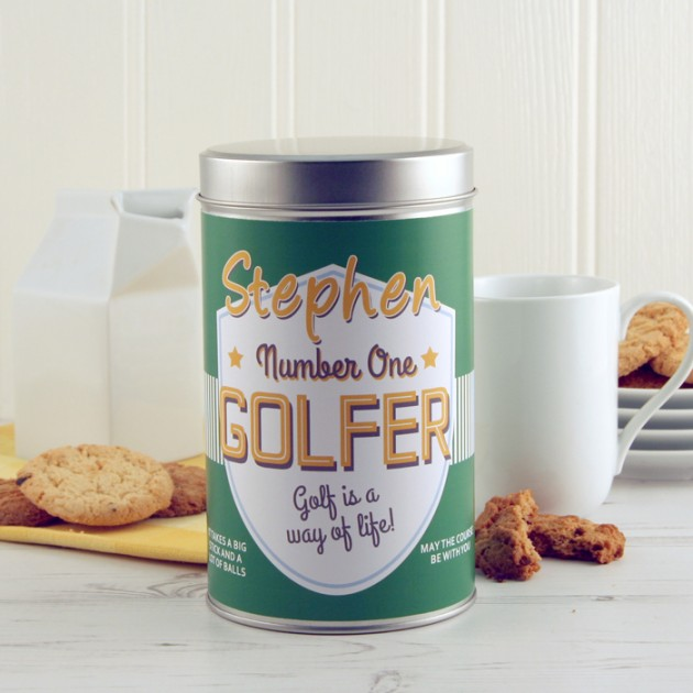 Hampers and Gifts to the UK - Send the Personalised Number One Golfer Tin with a Dozen Cookies