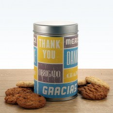 Hampers and Gifts to the UK - Send the Thank You Languages Tin with a Dozen Cookies