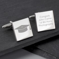 Hampers and Gifts to the UK - Send the Personalised Graduation Square Cufflinks