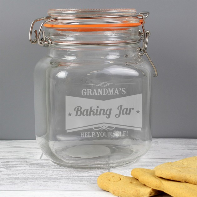 Hampers and Gifts to the UK - Send the Personalised Glass Retro Style Kilner Jar