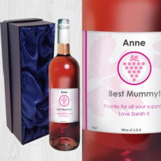 Hampers and Gifts to the UK - Send the Grape Label Rose Wine Personalised
