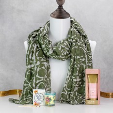 Hampers and Gifts to the UK - Send the Khaki Scarf with Bohemia Floral Scents