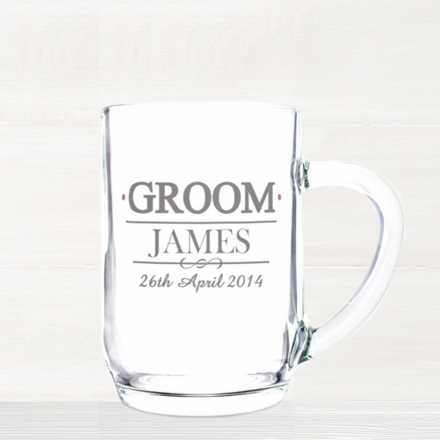 Hampers and Gifts to the UK - Send the Personalised Groom Glass Tankard