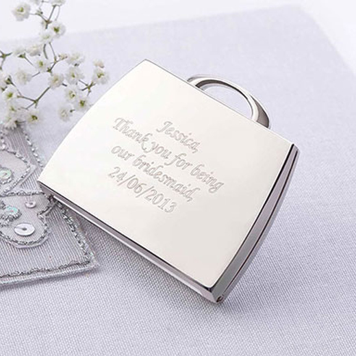 Hampers and Gifts to the UK - Send the Engraved Handbag Style Compact Mirror