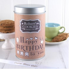 Hampers and Gifts to the UK - Send the Personalised Any Name Hands Off Cookies Tin