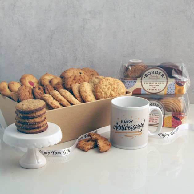 Hampers and Gifts to the UK - Send the Biscuit Favourites Hamper - HAPPY ANNIVERSARY