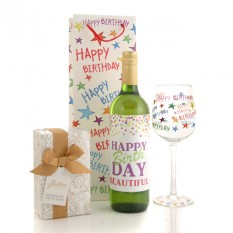 Hampers and Gifts to the UK - Send the Happy Birthday Starburst Surprise with Any Name Wine