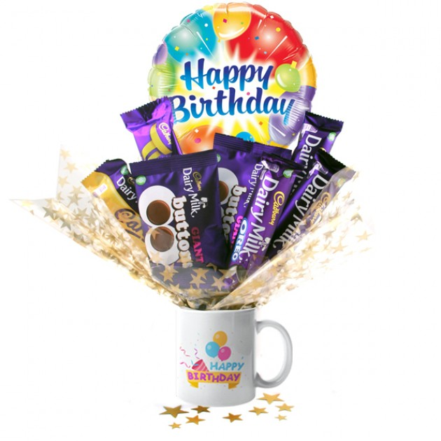 Hampers and Gifts to the UK - Send the Happy Birthday Celebration Chocolate Bouquet In A Mug