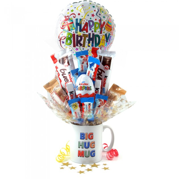 Hampers and Gifts to the UK - Send the Birthday Big Hugs Kinder Egg Surprise Bouquet In a Mug