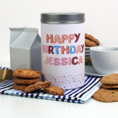 Hampers and Gifts to the UK - Send the Personalised Biscuit Tin Happy Birthday