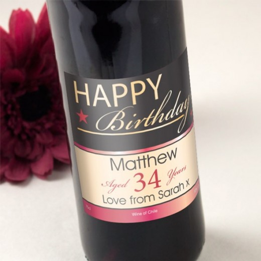 Hampers and Gifts to the UK - Send the Happy Birthday Red Wine Personalised