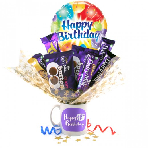 Hampers and Gifts to the UK - Send the Happy 18th Birthday Chocolate Bouquet In A Mug