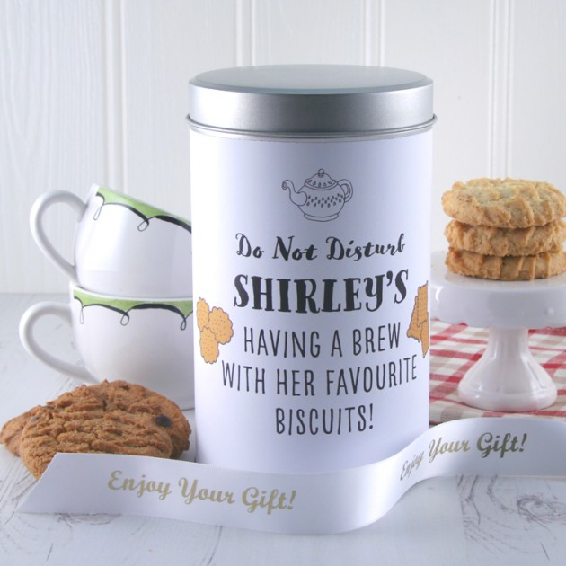 Hampers and Gifts to the UK - Send the Personalised Any Name Having A Brew Biscuit Tin