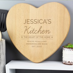 Hampers and Gifts to the UK - Send the Personalised 'Heart of The Home' Wooden Chopping board