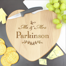 Hampers and Gifts to the UK - Send the Mr and Mrs Leaf Heart Chopping Board