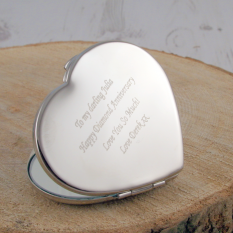 Hampers and Gifts to the UK - Send the Engraved Diamante Heart Compact