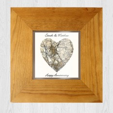Any Postcode Heart Map Framed