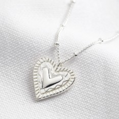 Hampers and Gifts to the UK - Send the Layered Heart Necklace in Silver