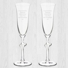 Hampers and Gifts to the UK - Send the Personalised Heart Stem Champagne Celebration Flutes