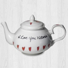 Hampers and Gifts to the UK - Send the Hearts Teapot Personalised