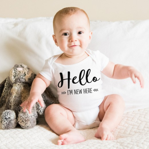Hampers and Gifts to the UK - Send the Hello I'm New Here Baby Onesie