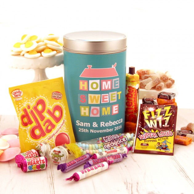 Hampers and Gifts to the UK - Send the Personalised Home Sweet Home Tin with Retro Sweets