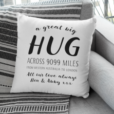 * OUT OF STOCK * - Personalised Hug Across the Miles Cushion