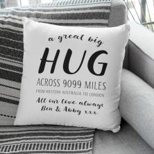 Personalised Hug Across the Miles Cushion