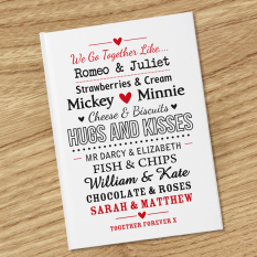Hampers and Gifts to the UK - Send the Personalised Couples Hardback Notebook
