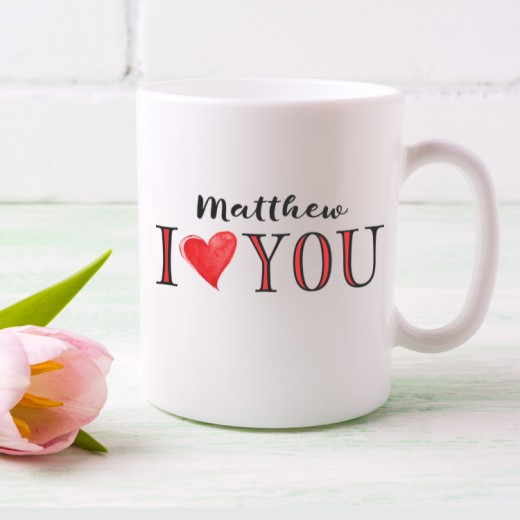 Hampers and Gifts to the UK - Send the Personalised Any Name I Heart You Mug