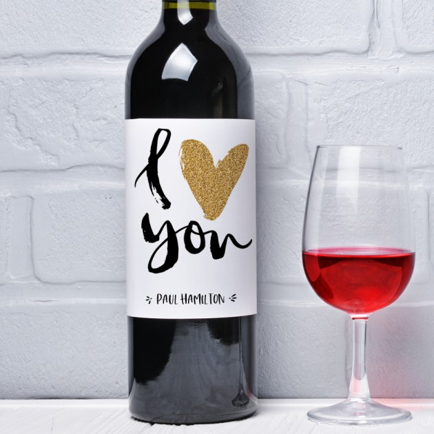 Hampers and Gifts to the UK - Send the I Heart You Personalised Wine