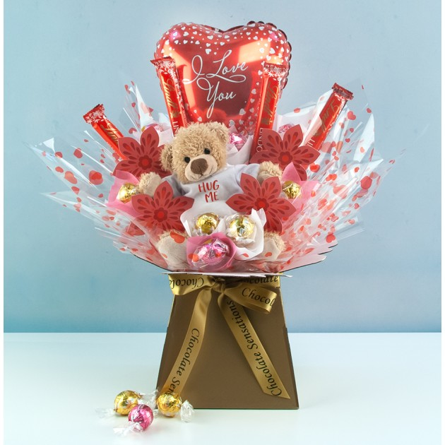 Hampers and Gifts to the UK - Send the Hug Me I Love You Chocolate Bouquet